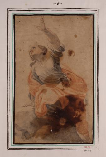 Estudio de mujer sentada con el brazo alzado y expresión suplicante