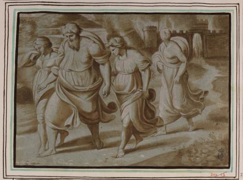 Estudio de Lot y su familia saliendo de Sodoma