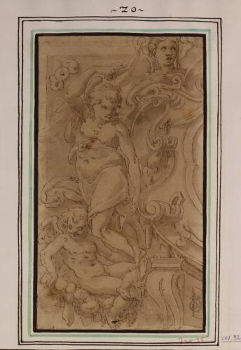 Estudio de ángeles niños, adolescente y cabeza femenina en un marco decorativo