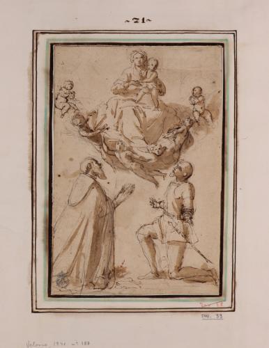 Estudio de un religioso y un caballero de rodillas adorando a la Virgen con el Niño