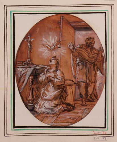 Santa Catalina rezando, sorprendida por un caballero