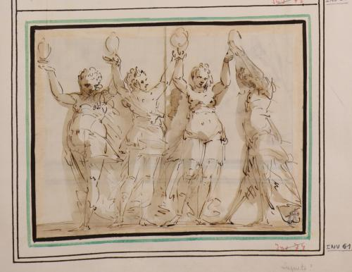 Estudio de cuatro figuras femeninas danzando