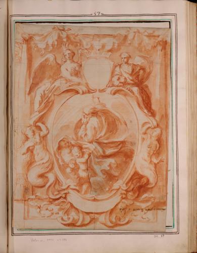 Estudio de portada de un libro: óvalo central con el Padre Eterno flanquedao por sirenas, rematado por un escudo con corona sostenido por dos figuras alegóricas
