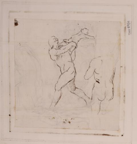 Apunte de figura masculina dispuesto a matar a un niño (Neoptólemo y Astianax?)