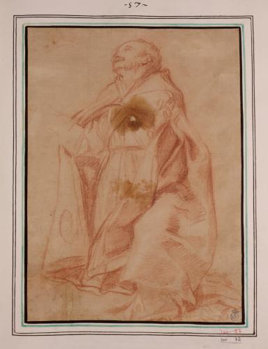 Estudio de santo obispo en oración
