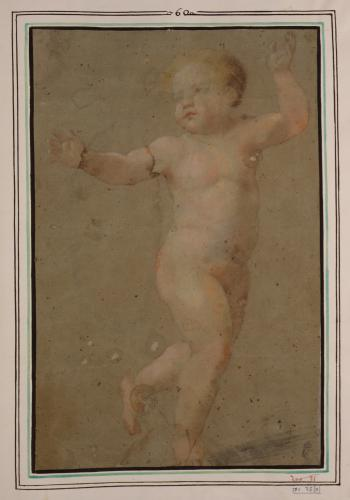 Estudio de niño desnudo corriendo hacia la derecha