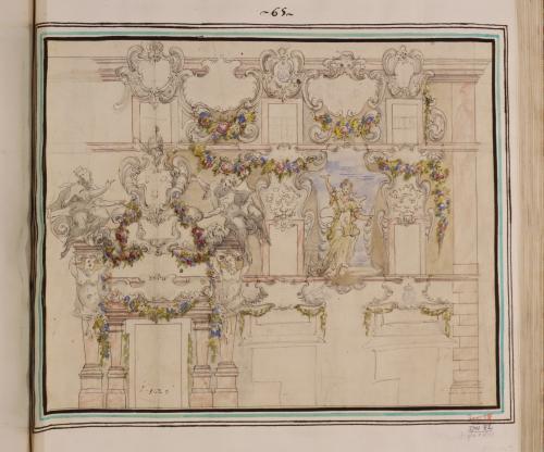 Estudio de decoración mural para estancia papal (con escudos, guirnaldas, virtudes)