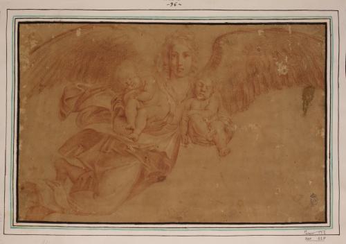 Estudio de ángel con dos niños en brazos dormidos