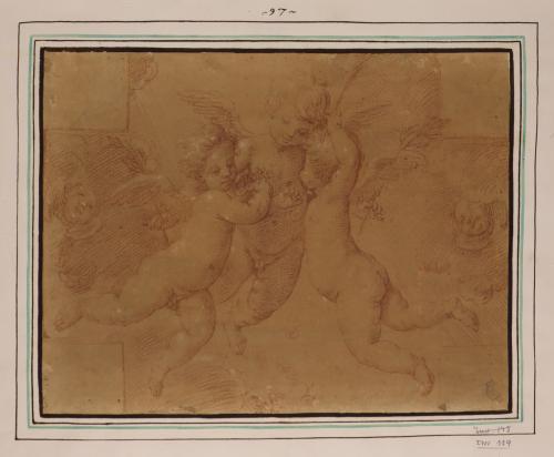 Estudio de tres niños ángeles volando con flores