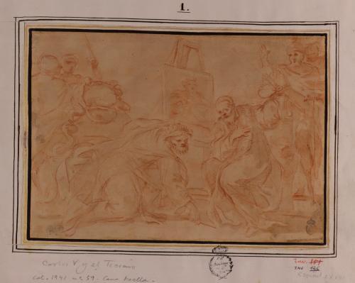 Estudio de Carlos V inclinándose a recoger el pincel de Tiziano