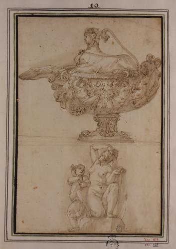 Estudio para una salsera decorada  y de Venus agachada y de niño abrazando una oca