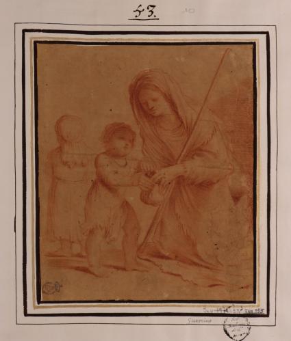 Estudio de mujer pobre arrodillada con dos niños