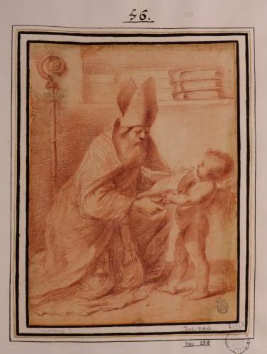 Estudio de San Agustín leyendo arrodillado un libro sujetado por un ángel niño