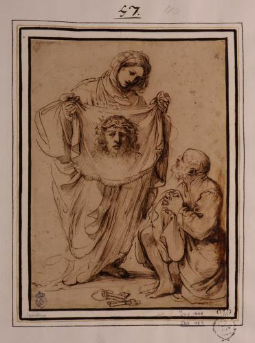 Estudio de la Santa Verónica mostrando el velo a San Pedro