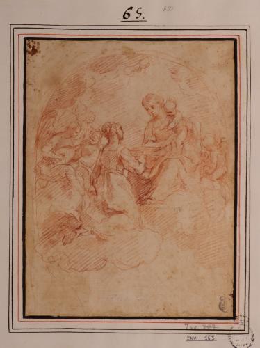Estudio de santa arrodillada en gloria con la Virgen y el Niño