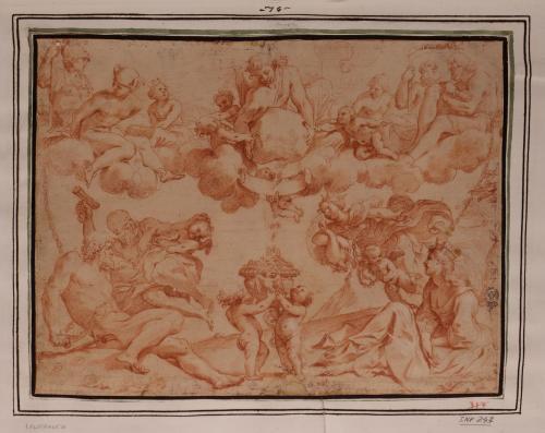 Estudio de alegoría con los dioses del Olimpo