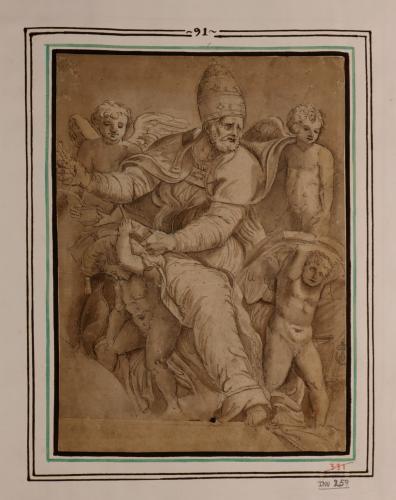 Estudio de San Gregorio, Papa, con ángeles
