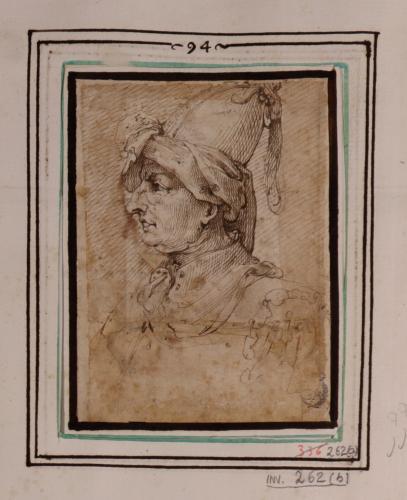 Estudio de cabeza femenina con turbante de perfil hacia la izquierda