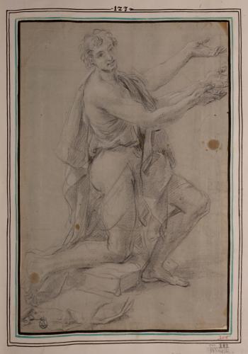 Estudio de santo arrodillado de perfil hacia la derecha