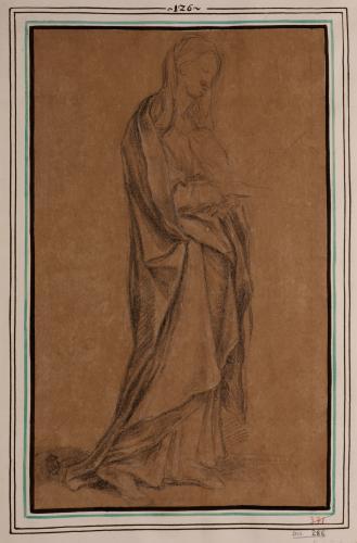 Estudio de Virgen de pie de tres cuartos hacia la derecha