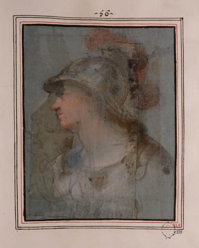 Estudio de busto de Minerva de perfil hacia la izquierda