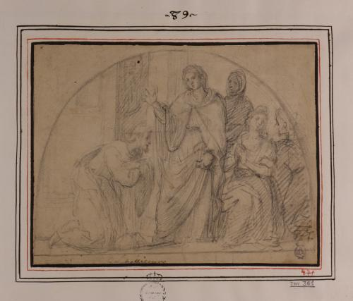 Estudio de un mujer en pie rodeada de mujeres bendiciendo a un hombre arrodillado a sus pies