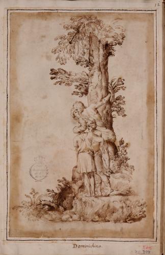 Estudio de un grupo de hombres al pie de un árbol