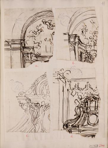 Conjunto de cuatro estudios arquitectónicos (a-d)