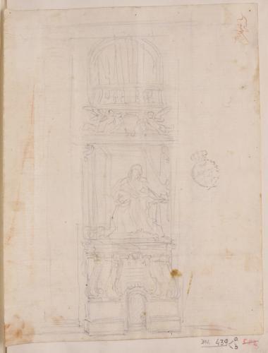 Estudio de tumba con escultura de prelado sentando