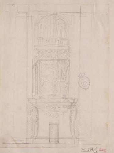 Estudio para tumba de cardenal sobre una puerta y tribuna en la parte superior