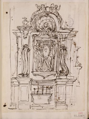 Estudio para un altar con tumba de prelado