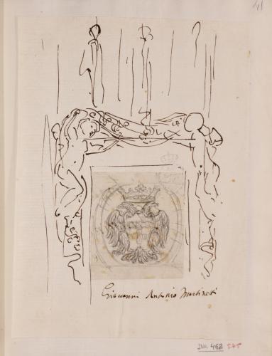 Estudio para un marco de un escudo de águila bicéfala coronada