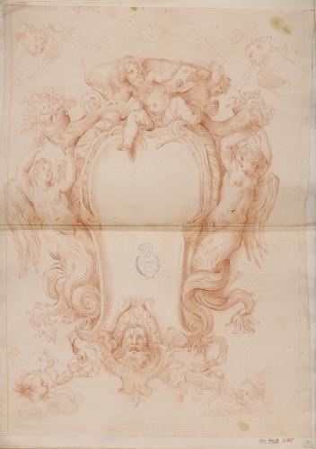 Estudio de marco con corona rodeado de amorcillos