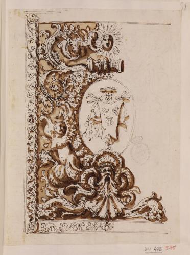 Estudio de panel decorativo con escudo cardenalicio de los Barberini