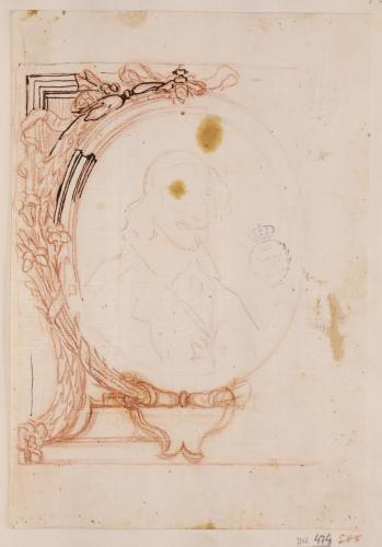 Apunte de marco oval con el retrato del cardenal Antonio Barberini