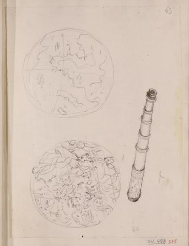 Globo terráqueo, esfera celeste y catalejo