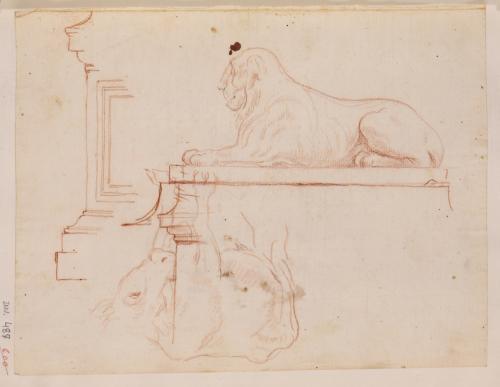 Estudio de León de Nectanebo y apunte de vaca