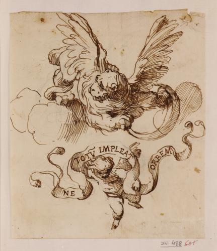 Estudio de escudo con león alado y amorcillo sosteniendo una filacteria con la leyenda