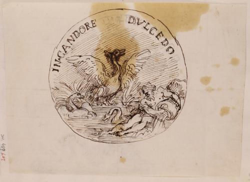 Estudio de una medalla con cisnes y dios rio con la inscripción