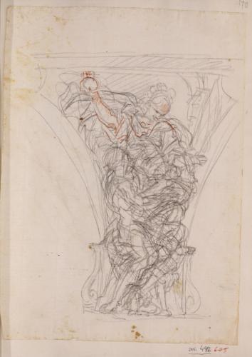 Estudio para pechina de la alegoría del río Tiber que entrega los gemelos Rómulo y Remo a la ciudad del Palacio Altieri