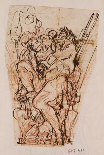 Estudio para pechina de la alegoria del rio Tiber que entrega los gemelos Romulo y Remo a la ciudad de Roma de Palacio Altieri