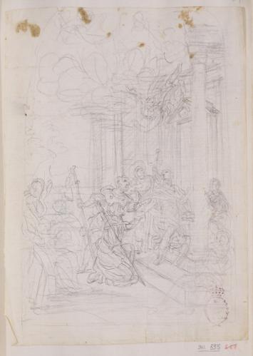 Estudio compositivo de un grupo de peregrinos y un ángel ante la puerta de una iglesia