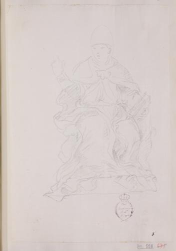 Estudio de Pontífice sentado en actitud de bendecir y con un libro en la mano derecha