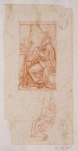 Estudio del rey David con el arpa