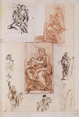 Dos apuntes para figura del rey David con el arpa y cinco apuntes para un guerrero