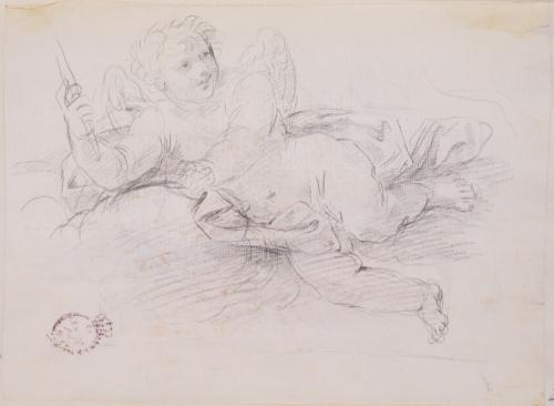 Estudio de ángel niño tumabdo sobre nube