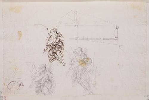 Tres estudios de ángel y boceto arquitectónico