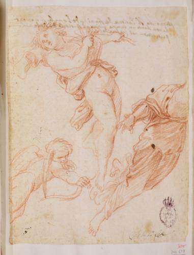 Estudio de Cupido, Baco, figura femenina