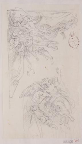 Estudio de ángeles volando sosteniendo un cortinaje