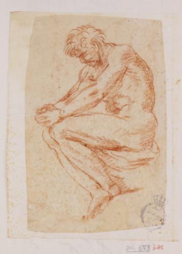 Estudio de desnudo varonil sentado